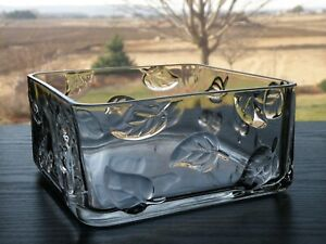 """Partylite ARBOR BREEZE Square 7"""" Clear Glass Embossed Leaf Float Bowl"""