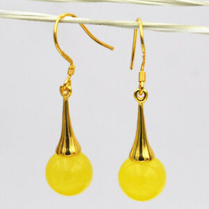 Beautiful 10mm Natural Yellow Topaz Gemstone Dangle Gold Plated Hook Earrings