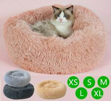 Dog Cat Kennel Calming Bed Round Nest Soft Plush Pet Warmer Marshmallow Sleeping