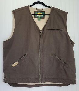 Cabela's Canvas/Sherpa Vest Size 2XL Green Pre-Owned Washed, Never Worn