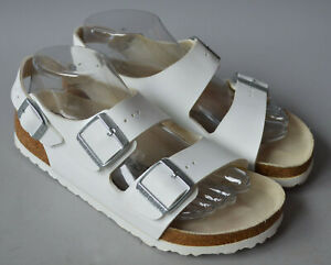 Ladies Birkenstock Milano White Birko Flor Sandals Size 245 38 UK 5