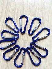 30 x Ganci Clip Blu Piccolo Portachiavi Campeggio Sport caribiner Moschettone 5 cm