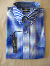NEW BERKLEY JENSEN BUTTONDOWN COLLAR DRESS SHIRT-BLUE/BLUE CHECK 16 16.5 34/35