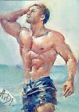 Original art,gay art interest,male torso,oil/canvas,boy man portrait in the wate