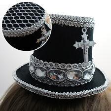 Black Silver Gothic Victorian Steampunk Mini Top Hat w/ Cross Halloween Costume