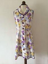 Vintage años 70 Floral Oriental Chino Mandarín Cuello Botones Vestido Reino Unido 10