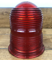 Vintage Industrial Red Ribbed Glass Globe Factory Warning Signal