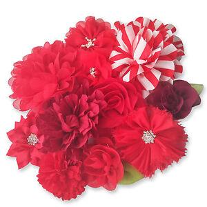 RED Fabric FLOWERS DIY Glue Sew On Embellishment Applique Card Garment Hair