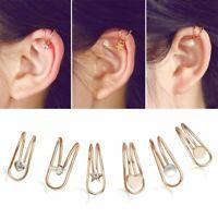 Vintage Punk Rock Crystal Ear Clip Cuff Wrap Fake Earring Cartilage Non Piercing