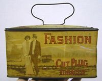 Vintage Fashion Cut Plug Tobacco Lunch Box Tin 1920s Graphics Auto People