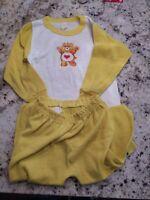 VINTAGE 1982 CARE BEARGirl's 2-Piece yellow Pajama Set