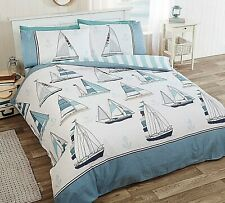 Sail Away Blue / White Quilt Cover Boats Ships Stripe Seaside Holiday Bedding