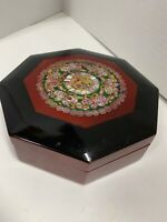 Vintage Japanese Black Lacquer Box Wood Inlaid Mother of Pearl Octagon Abalone