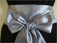 """3.5 allegati al """"Scuro Argento grigio raso Sash Belt Self TIE Bow 4 partito abito da sposa Prom"""