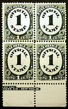 #O47 1c Black 1873 Post Office Official Imprint Block of 4 Xf *Mnh*
