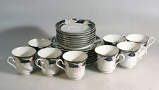 MIKASA Charisma BLACK FLOWER FINE CHINA. 8 X CUPS WITH SAUCERS AND SIDE PLATES