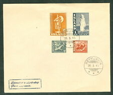 ICELAND 1945, Viking/Geysir/Fish (208B,222,225,231) on unaddressed FDC