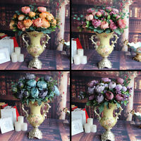 Fake Peony Silk 12 Heads Blue Flowers Bridal Bouquet Wedding Decor DIY