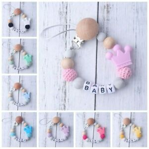 Free Personalised Name Wooden Dummy Clip Chain Pacifier Baby Gift Shower Toys