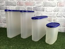 Vintage Tupperware Large Oval Containers X 4 With Matching Blue Lids Pre Owned
