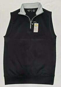 NEW Antigua Mens Sleeveless Pullover Golf Leader Vest 1/4 Zip Black Size S Small