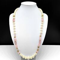 Vintage 1928 Faux Pearl Beaded Pink Art Glass & Crystal Gold Filigree Necklace