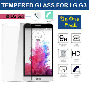 2 in 1 Pack 100% Genuine Tempered Glass Scratch Proof Screen Protector For LG G3