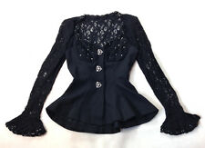 AFTER FIVE Black Lace Mother of the Bride Peplum Evening Formal Blouse Top 4 S