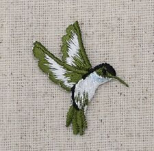 Small - Blue Hummingbird - Facing Right - Iron on Applique/Embroidered Patch