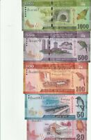 SET SRI LANKA 20,50,100,500,1000 RRUPEES 2010-16 XF-UNC  BANKNOTE