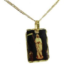 Santa Muerte Square Pendant 18K Gold Plated with 22 inch Chain - Holy Death
