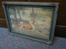 ANTIQUE  VICTORIAN PAINTING ST. BERNARD DOG IN PIE CRUST FRAME INCREDIBLE DETAIL