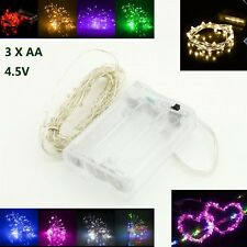 LED String Silver Wire Fairy Lights 3XAA Battery Operated Powered Waterproof 5m