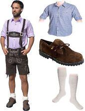 5-teiliges Trachtenset dunkelbraun * kurz A Trachtenlederhose Schuhe,Hemd,Socken