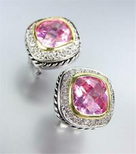 GORGEOUS 18kt White Gold Plated Cable Pink Rose Crystal Omega Post Earrings