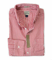 J Crew - Mens XL - Slim Fit - NWT - Red/White Striped Secret Wash Shirt