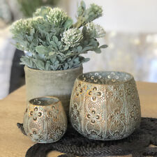 Set of 2 Moroccan Metal Lanterns/Tealight Holder/Candle Holder/Votive/Hurricane