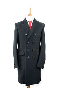 """Burberry Prorsum Dark Black Double Breasted Trench Over Coat M  IT 50 UK 40"""""""
