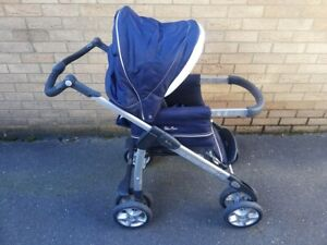 Silver Cross Pushchair Pram + Sleepover Wooden Stand--Dark Blue