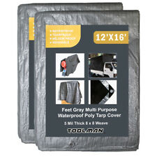 2PCS Toolman 12 x 16 Feet Gray  Multi Purpose Waterproof Tarp Cover 5Mil Thick
