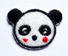 Embroidered Iron-On Applique Panda face, 1 x 1 inch
