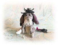 """7 1/2"""" Faux Fur Aged Eeyore Donkey Teddy Bear OOAK Artist Boulter Bears"""