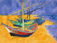 Fishing Boats On The Beach Vincent Van Gogh Fine Art Print Canvas Giclee Small
