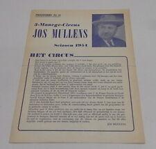 Programma Circus / programm Jos Mullens Geant 1954 / 4 pagina's