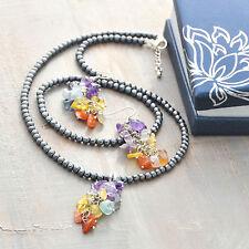 Cluster Set Necklace Bracelet Earrings Hematite Gemstone