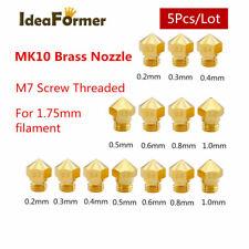 5Pcs 3D Printer MK10 Brass Nozzle Bore 0.2-1.0mm M7 Thread 1.75/3.0mm filament.