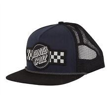 Santa Cruz Contest Hat Snapback Black Navy Checkered Mesh Hat OG Skateboard NEW
