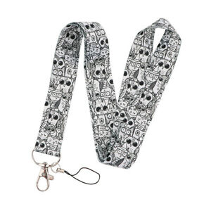 1PC Owl Pattern Polyester Neck Strap Lanyard ID Card Phone Keychain Holder