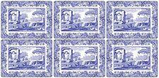 6x Clásico Azul Italiano Floral Blanco DORSO de corcho Manteles Individuales
