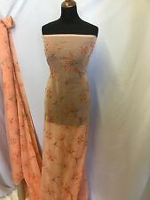 "New Beautiful Light Orange Embroided Sequins Beads Chiffon Print Fabric 55""140cm"
